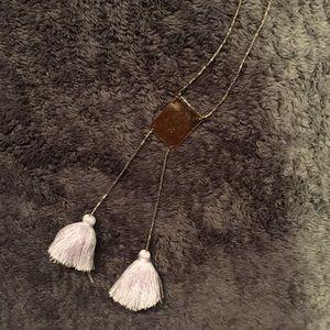 Express Gold & Lavender Tassel Necklace